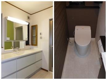 清潔感のあるシンプルな洗面所に